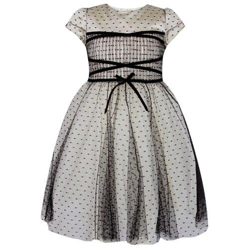 Платье Abel & Lula размер 140, черный/горошек