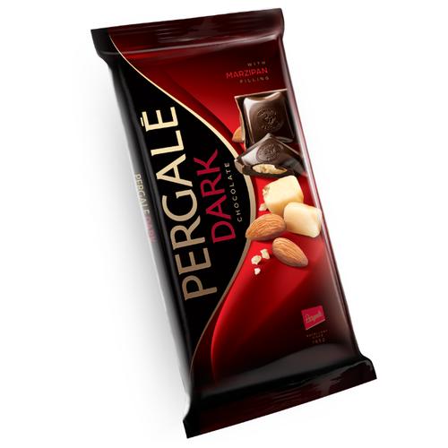 Шоколад Pergale темный с марципановой начинкой 50% какао, 100 г шоколад maitre truffout erdbeer темный с помадной начинкой со вкусом клубники 50% 100 г