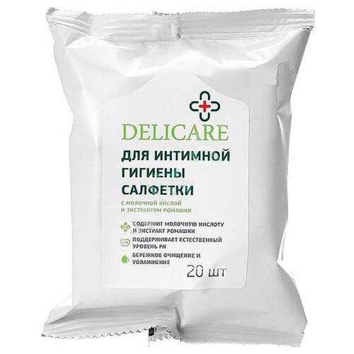 цена Delicare Влажные салфетки для интимной гигиены c молочной кислотой и эфирным маслом ромашки, 20 шт онлайн в 2017 году
