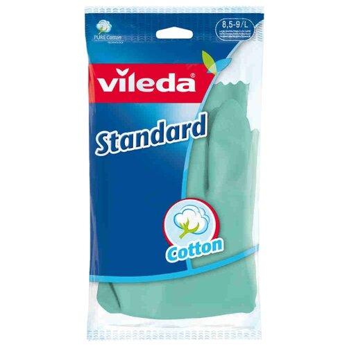 Перчатки Vileda Standard, 1 пара, размер L, цвет зеленый перчатки для деликатных работ vileda sensitive размер l