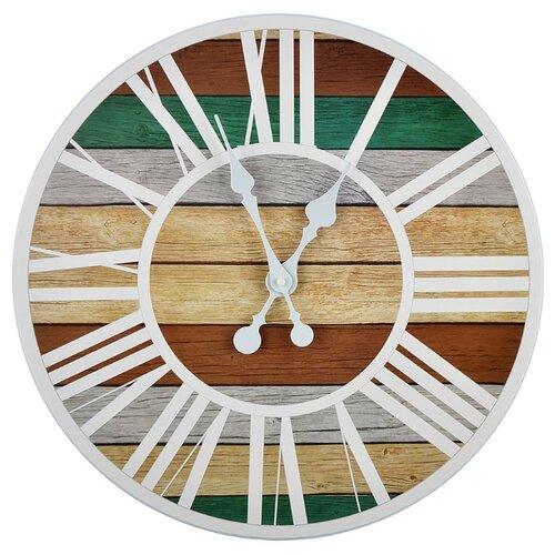 Часы настенные кварцевые Xiamen Titosh с римскими цифрами коричневый/серый