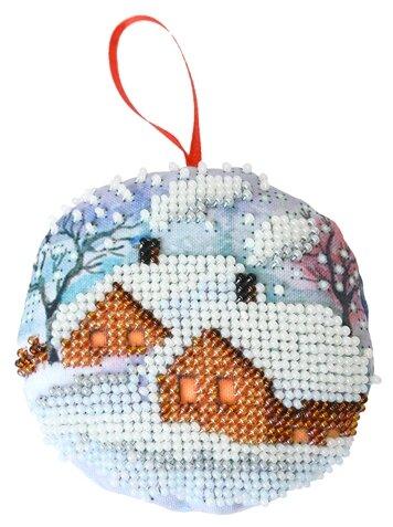 Созвездие Набор для вышивания бисером новогодняя игрушка Зимний теремок 8,5 х 8,5 см (БИ-103)