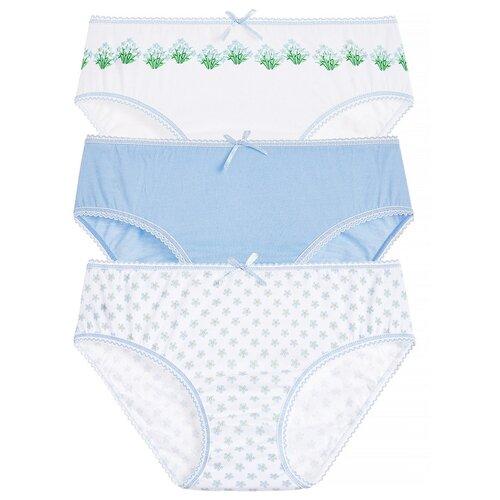 Купить Трусики Lowry 3 шт., размер S, голубой/белый, Белье и купальники