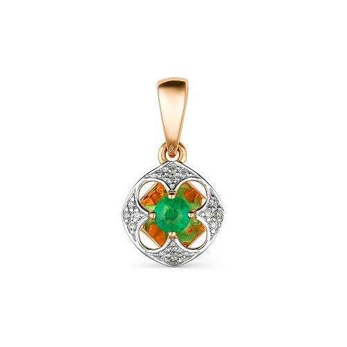 АЛЬКОР Подвеска с изумрудом и бриллиантами из красного золота 33475-101
