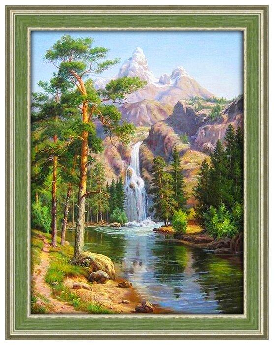 Алмазная живопись Набор алмазной вышивки Горный водопад (АЖ-1347) 30х40 см