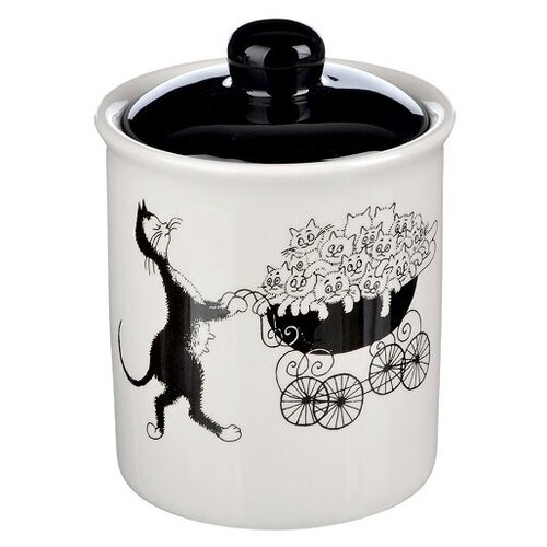Millimi Банка для сыпучих продуктов Черный кот 550 мл белый/черный