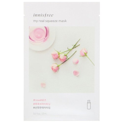 Фото - Innisfree тканевая маска My Real Squeeze Rose с экстрактом розы, 20 мл innisfree my real squeeze mask [aloe]