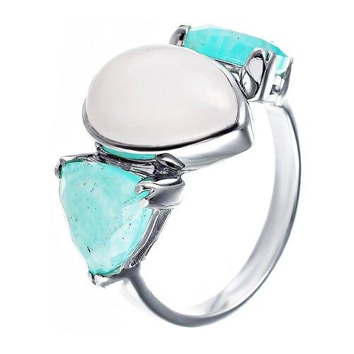 ELEMENT47 Кольцо из серебра 925 пробы с амазонитами и кварцем TR62R_KO_AZ_QZ_WG, размер 17