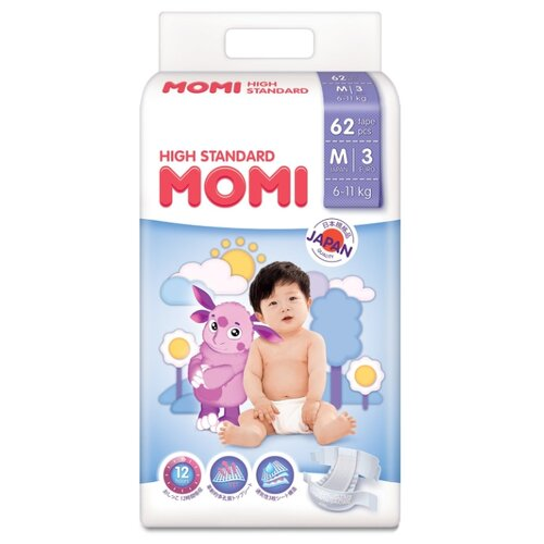 Momi подгузники High Standard M (6-11 кг) 62 шт. momi трусики m 6 10 кг 44 шт