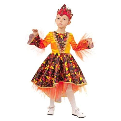 Купить Костюм пуговка Жар-птица (1016 к-18), оранжевый/красный/черный, размер 134, Карнавальные костюмы