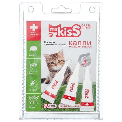 Ms.Kiss капли от блох и клещей Green Guard для кошек и котят до 2 кг капли для кошек inspector тотал к от 8 до 15 килограмм от внеш и внутр паразитов