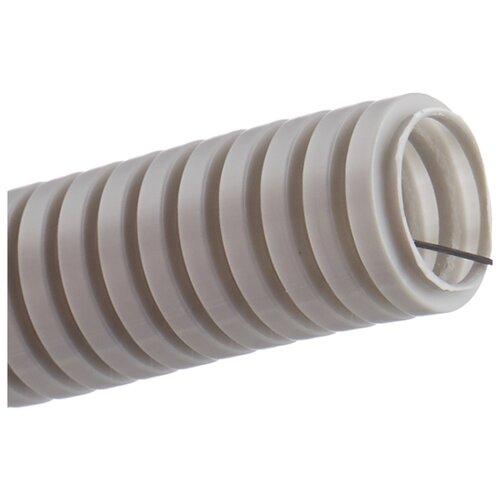 цена на Труба гофрированная ПВХ с зондом IEK 25 мм x 50 м серый серый