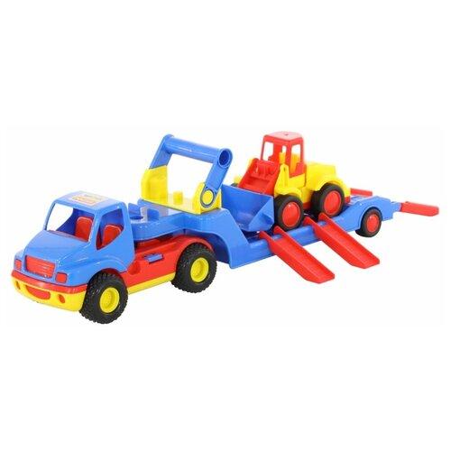 Купить Набор техники Wader трейлер КонсТрак и погрузчик Базик (38807), Машинки и техника