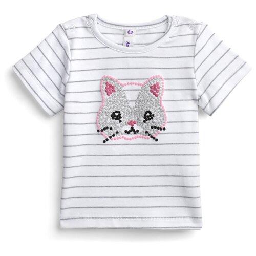 Купить Футболка playToday размер 68, белый/светло-серый/розовый, Футболки и рубашки