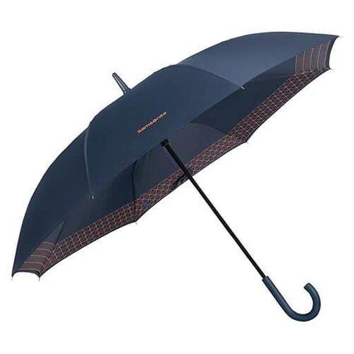 Зонт-трость Samsonite Up Way (8 спиц, ручка-крюк) синий / оранжевыйЗонты<br>