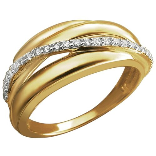 Эстет Кольцо с 25 фианитами из жёлтого золота 01К1313067Р, размер 16.5