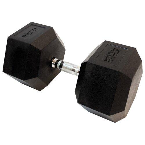 Гантель неразборная Original FitTools FT-HEX-42.5 42.5 кг хром/черный гантель гексагональная original fit tools обрезиненная хромированная ручка 2 кг ft hex 02