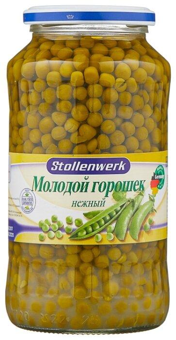 Зелёный горошек Stollenwerk молодой нежный, стеклянная банка 660 г