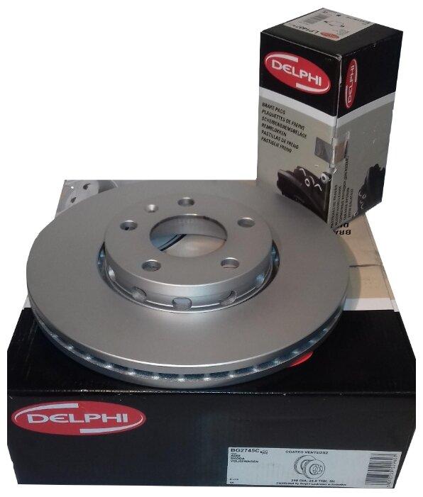 Тормозной диск передний DELPHI BG2745 288x25 для Audi 100, Audi A6, Volkswagen Passat, Skoda Superb