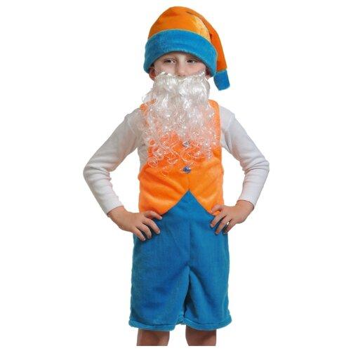 Костюм КарнавалOFF Гномик 2 плюш (3016), оранжевый/синий, размер 92-122