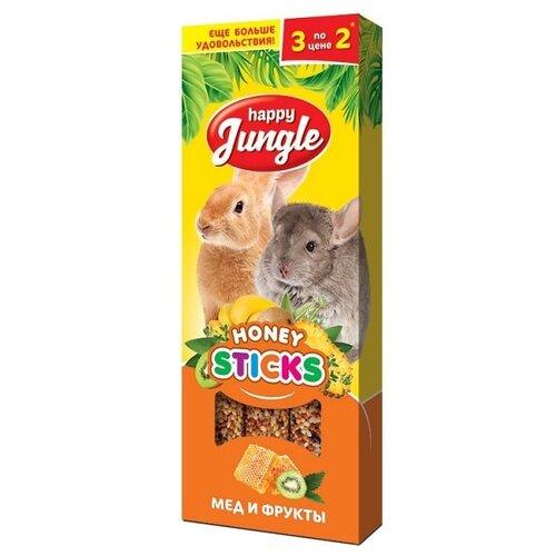 Лакомство для кроликов, грызунов Happy Jungle Honey sticks Мед и фрукты