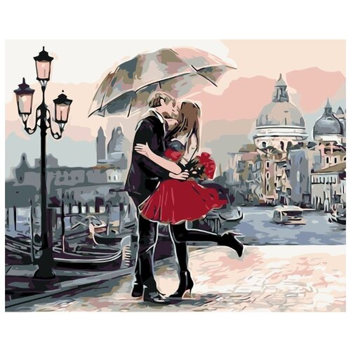 Купить Картина по номерам Живопись по Номерам Свидание под зонтом , 40x50 см, Живопись по номерам, Картины по номерам и контурам