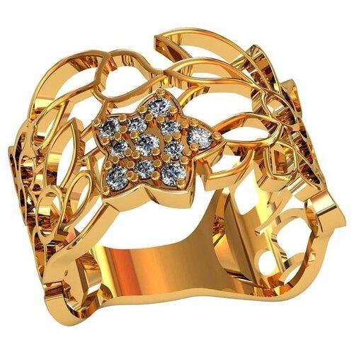 Фото - Приволжский Ювелир Кольцо с 11 фианитами из серебра с позолотой 252306-FA11, размер 19 приволжский ювелир кольцо с 65 фианитами из серебра с позолотой 252119 fa11 размер 19 5
