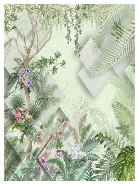 Фотообои флизелиновые Design Studio 3D Геометрия в тропикаx 2х2.7м