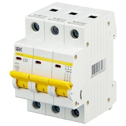 Автоматический выключатель IEK ВА 47-29 3P (C) 4,5kA 25 А автомат iek 3п c 40а ва 47 100