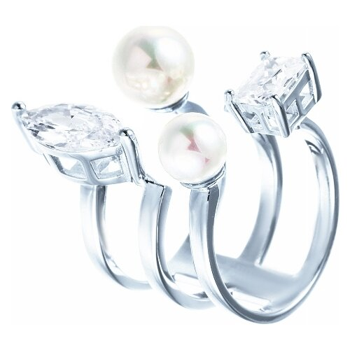 Фото - JV Кольцо с жемчугом и фианитами из серебра OL01380D-KO-WM-001-WG, размер 16 jv кольцо с жемчугом и фианитами из серебра ol01367d ko wm 001 wg размер 17