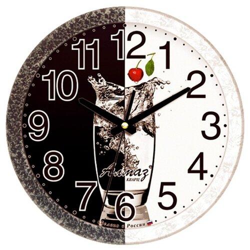 Часы настенные кварцевые Алмаз B12 черный/белый часы настенные кварцевые алмаз h01 белый черный