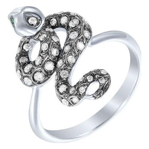 цена на JV Кольцо с бриллиантами и цаворитами из белого золота R28564-TV-WG, размер 16.5