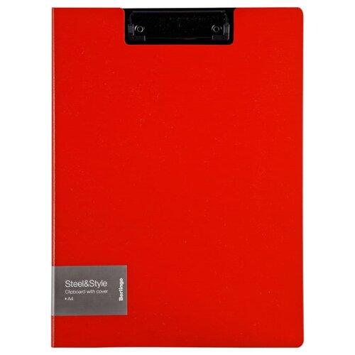 Купить Berlingo Папка-планшет с зажимом с крышкой Steel&Style A4, пластик красный, Файлы и папки