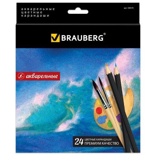 Купить BRAUBERG Карандаши цветные акварельные Artist line 24 цвета (180570), Цветные карандаши
