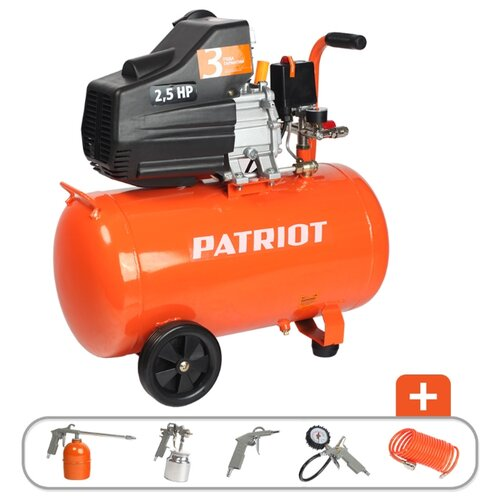 цена на Компрессор масляный PATRIOT Euro 50-260K, 50 л, 1.8 кВт