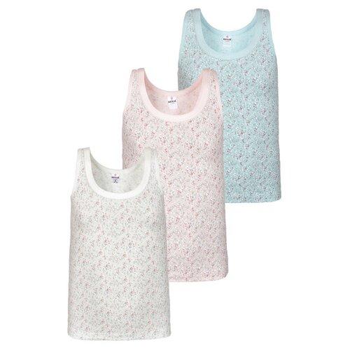 Купить Майка BAYKAR 3 шт., размер 110/116, голубой/молочный/розовый, Белье и купальники