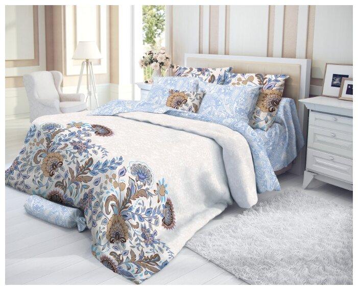 Комплект постельного белья двуспальный, Verossa, ткань-сатин, дизайн-Ivy, 50х70см-2 штуки