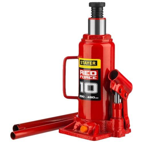 Домкрат бутылочный гидравлический STAYER Red Force 43160-10_z01 (10 т) красный