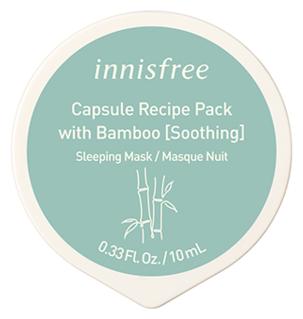 Innisfree капсульная ночная маска Capsule Recipe Sleeping Pack Bamboo с экстрактом бамбука