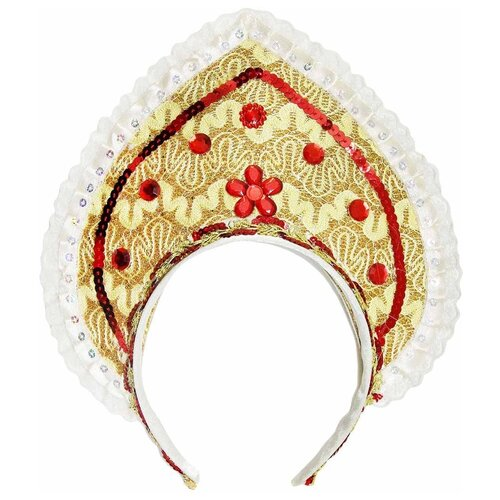 Купить Головной убор Новогодняя Сказка Кокошник (972864), золотистый, Карнавальные костюмы