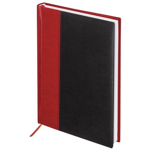 Ежедневник BRAUBERG Prestige недатированный, искусственная кожа, А5, 160 листов, красный/черный ежедневник brauberg cayman недатированный искусственная кожа а5 160 листов черный темно коричневый