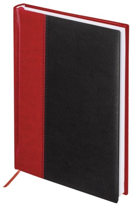 """Ежедневник датированный 2020 А5 (138х213 мм) BRAUBERG """"Prestige"""", комбинированный кожзам, красный/черный, 129746"""