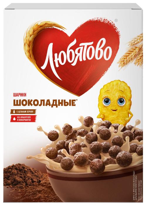 Готовый завтрак Любятово Шарики шоколадные, коробка