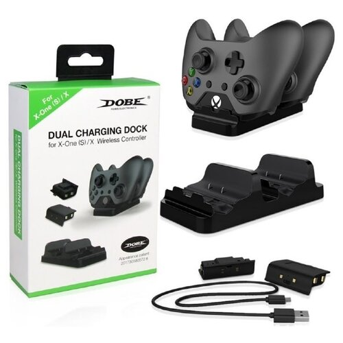 Dobe Зарядная станция X Dual Charging Station на два геймпада для Xbox One (TYX-532) черный 2 аккумулятор dobe tyx 561 battery pack 400mah black для xbox one s