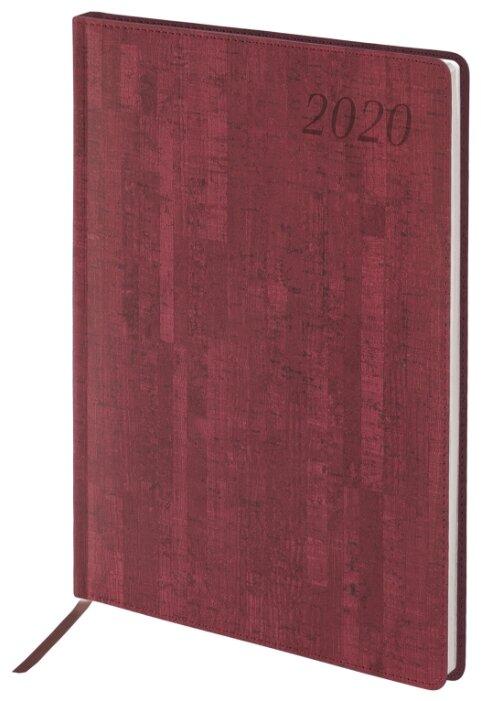 Ежедневник датированный 2020 А5, BRAUBERG «Wood», благородное дерево, синий, 138×213 мм