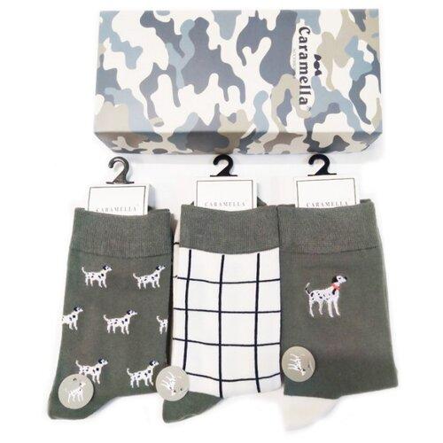 Носки Caramella Камуфляж-4 C531613-1, 3 пары, размер 23-27, серый/белый