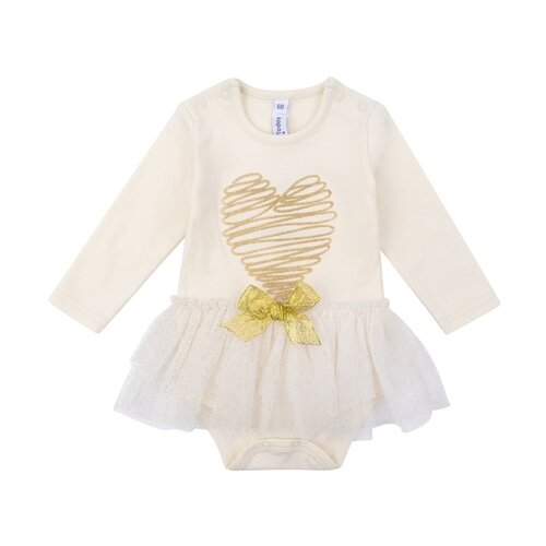 Платье-боди playToday размер 56, белый/золотистый