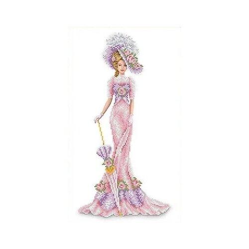 Канва для вышивания с рисунком Каролинка Дама в розовом КБЛ-3014, многоцветный 23.7 х 39.1 см
