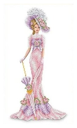 Канва для вышивания с рисунком Каролинка Дама в розовом КБЛ-3014 23.7 х 39.1 см