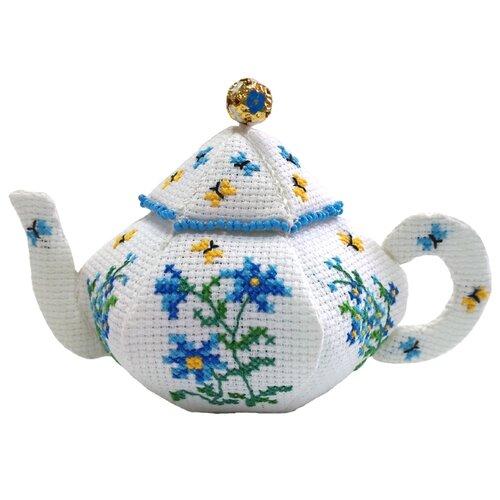 ZENGANA Набор для вышивания бисером и нитками Чайничек Незабудки 14 х 8 см (М-059)